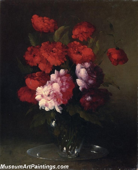 Peonies and Poppies in a Glass Vase Painting