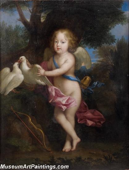 Portrait dun jeune garcon en cupidon jouant avec des colombes