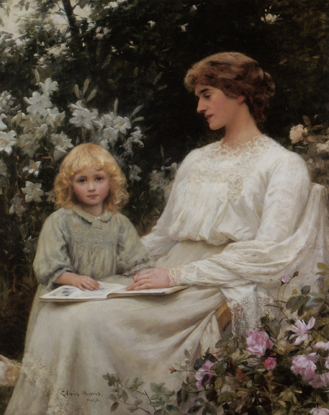Portrait of a mother and daughter reading a book by Edwin Harris