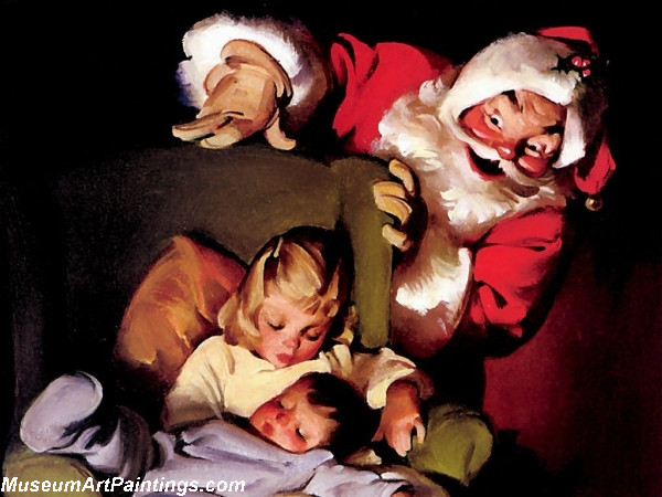 Santa with Children Painting