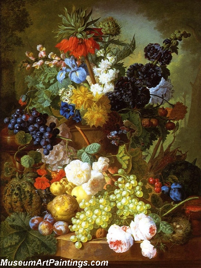 Still Life of Flowers Fruit and Birds Nest on a Marble Ledge