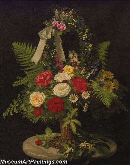 Still Life of Flowers in Basket