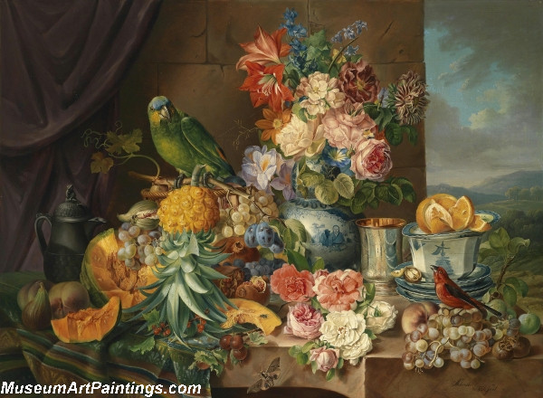 Still Life with Fruit Flowers and Parrot Painting