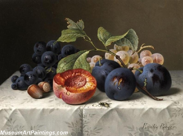 Still Life with Grapes and Apricots Painting