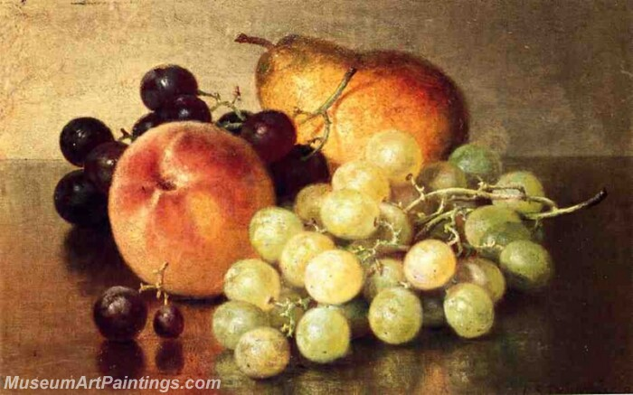 Still Life with Peach Pear and Grapes Painting