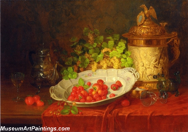 Strawberries Grapes and an Ornamental Jug on a Draped Table Painting