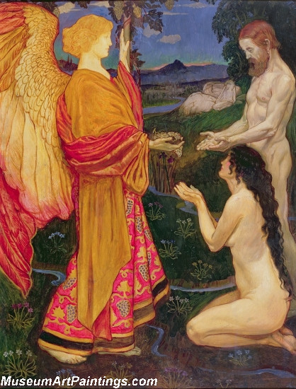 The Angel Offering the Fruits of the Garden of Eden to Adam and Eve Painting