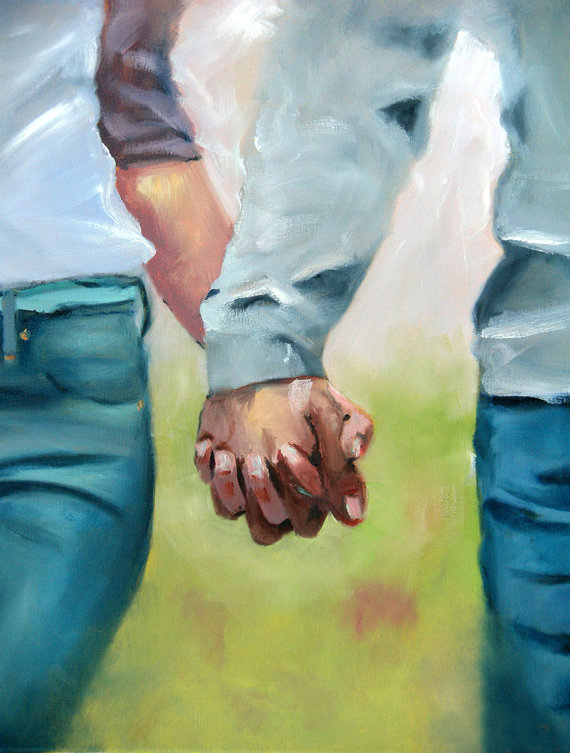 Valentines Day Paintings Holding Hands