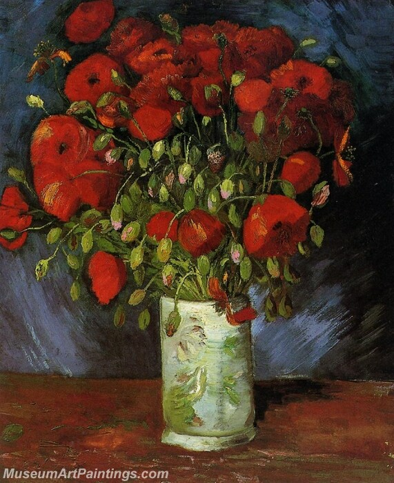 Vase with Red Poppies Painting