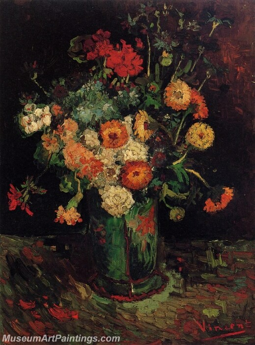 Vase with Zinnias and Geraniums Painting