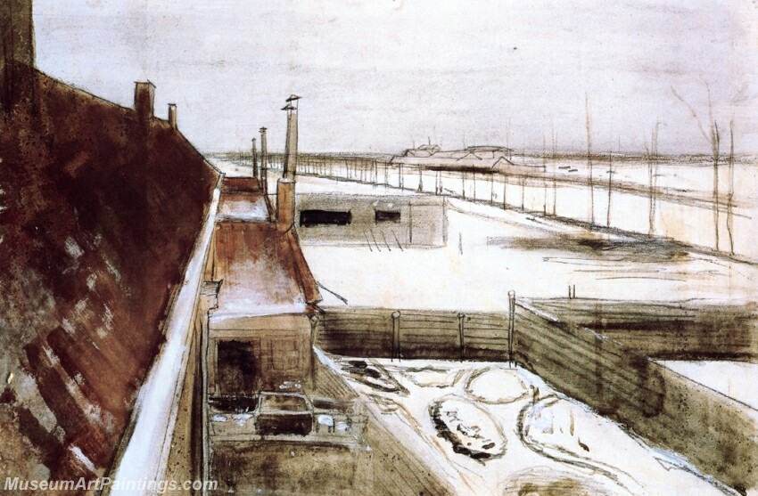 View from the Window of Vincent's Studio in Winter Painting