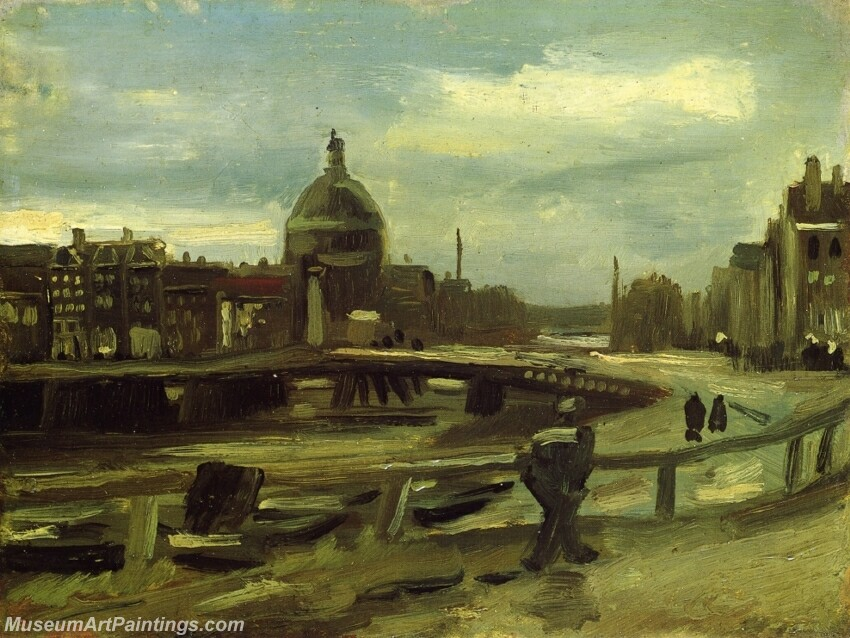 View on the Singel in Amsterdam Painting