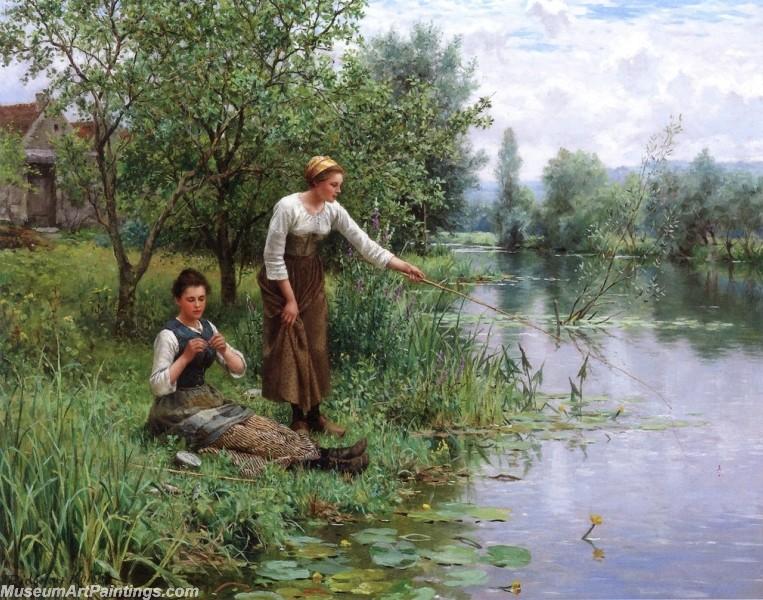 Village Girl Paintings Three Women in a Landscape