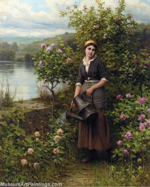 Village Girl Paintings Watering the Garden