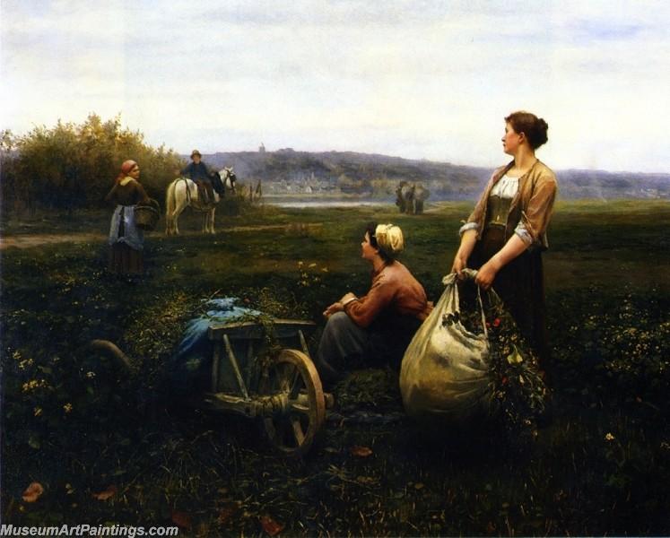 Village Girl Paintings Women in the Fields