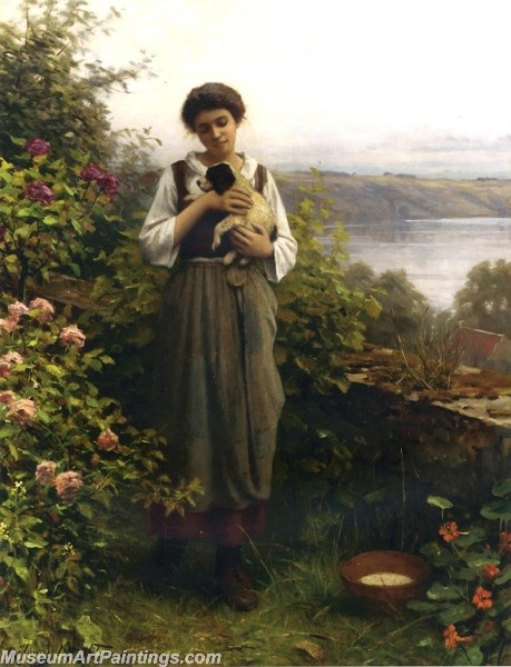 Village Girl Paintings Young Girl Holding a Puppy