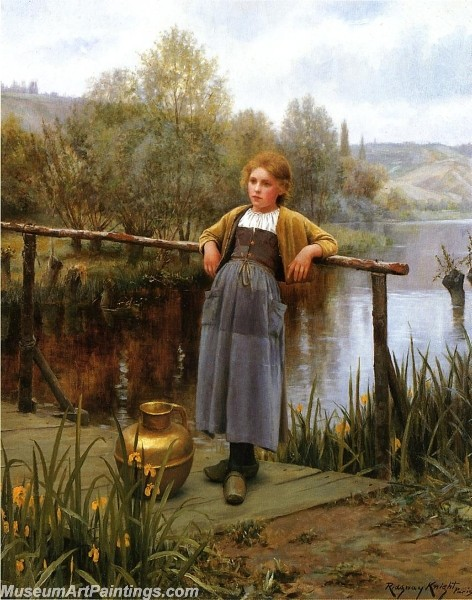 Village Girl Paintings Young Girl by a Stream