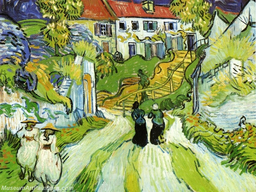 Village Street and Steps in Auvers with Figures Painting