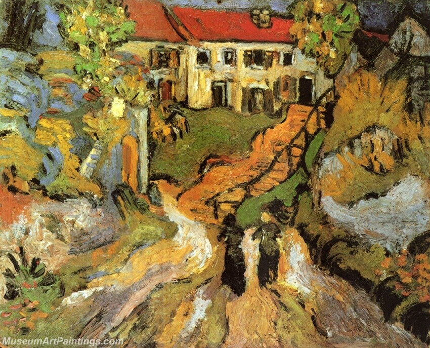 Village Street and Steps in Auvers with Two Figures Painting