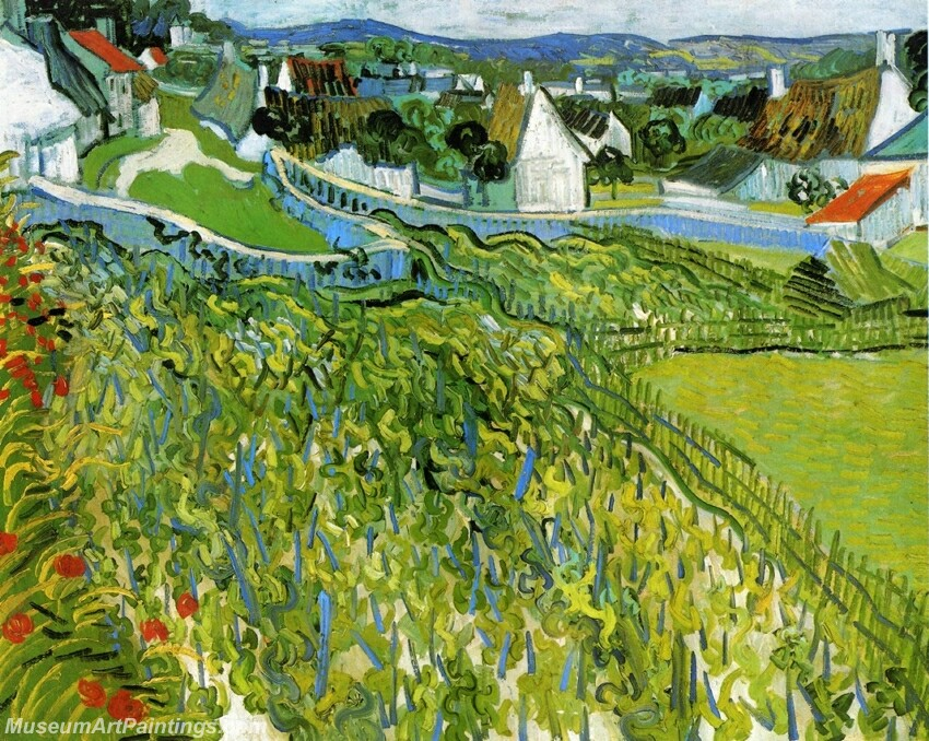Vineyards with a View of Auvers Painting