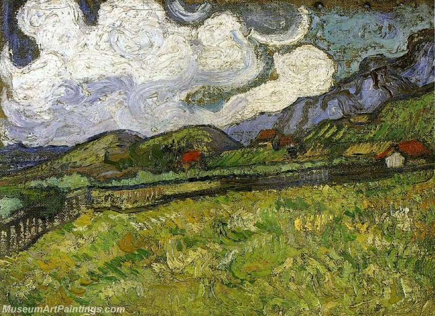 Wheat Field behind Saint Paul Hospital with a Reaper Painting