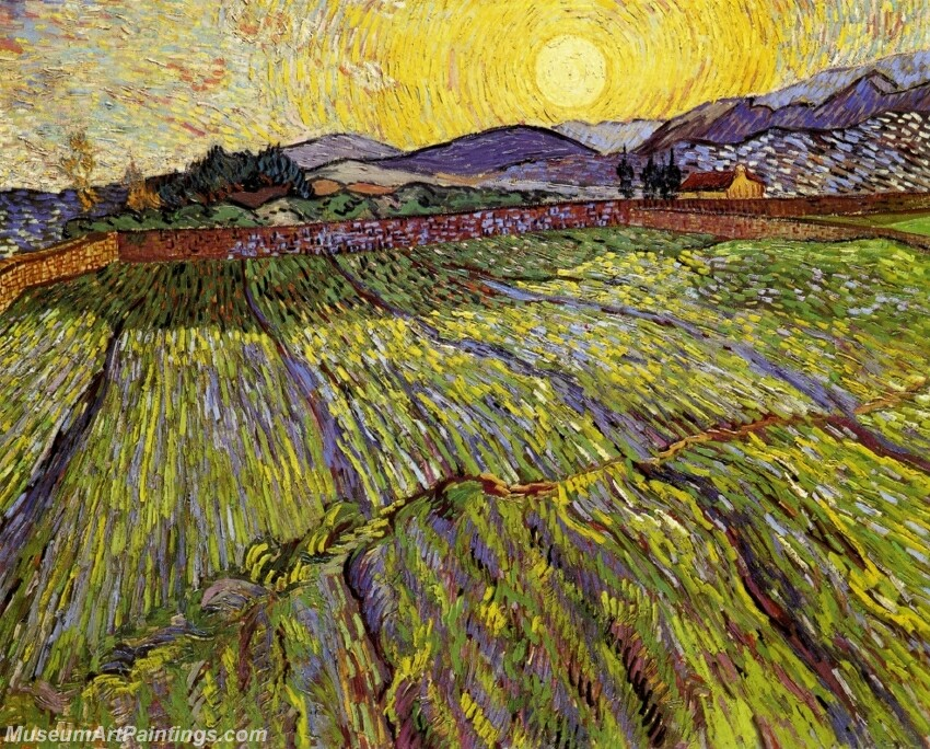 Wheat Field with Rising Sun Painting