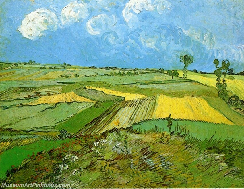Wheat Fields at Auvers under a Cloudy Sky Painting
