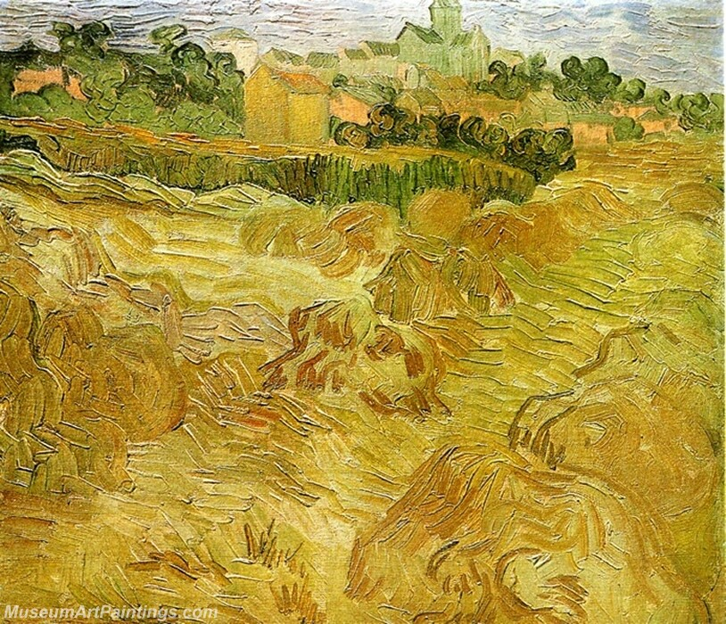 Wheat Fields with Auvers in the Background Painting