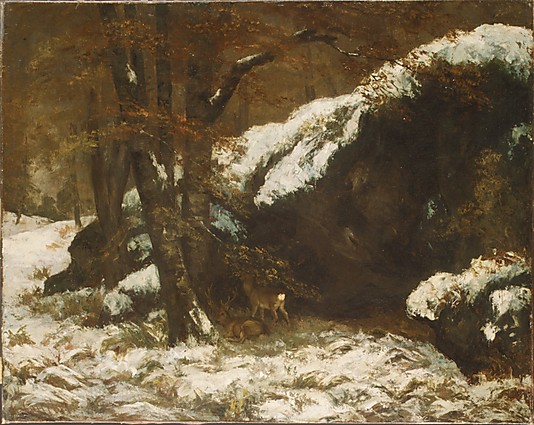 Winter Landscape Paintings The Deer by Gustave Courbet