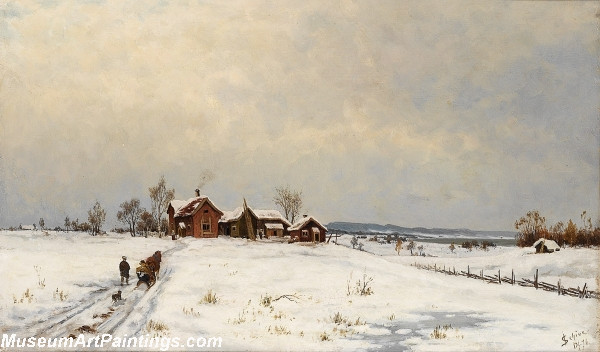 Winter Landscape with Farm Painting