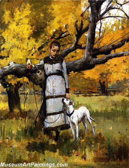 Young Girl with Dog Painting